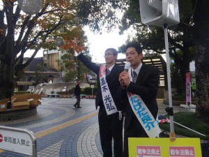 大垣駅前では、戦争法廃止2000万署名行動に参加。