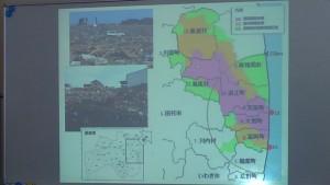 改めて、福島県内の避難指示区域の地図。レクチャーの際のスライドから