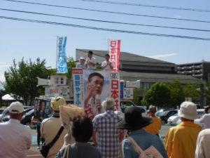 下諏訪町の街頭演説には、約100名でしょうか、大勢集まっていただきました!