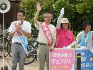 中川区で江上市議と訴え。「たけださんに会いに来た」と言っていただく方も!ありがとうございます
