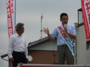 菰野町では、加藤昌行、中川哲雄、千賀優子3町議とともに訴えました!