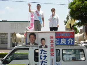 長野恒美笠松町議と街頭からも訴え