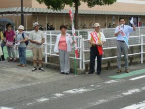 稲沢市では、渡辺幸保、渡辺ちなみ両市議と宣伝。